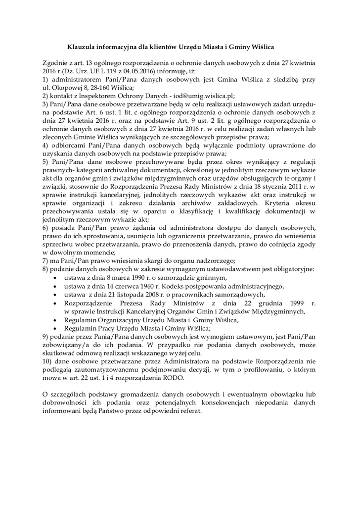 Klauzula informacyjna dla klientów Urzędu Miasta i Gminy Wiślica.jpeg