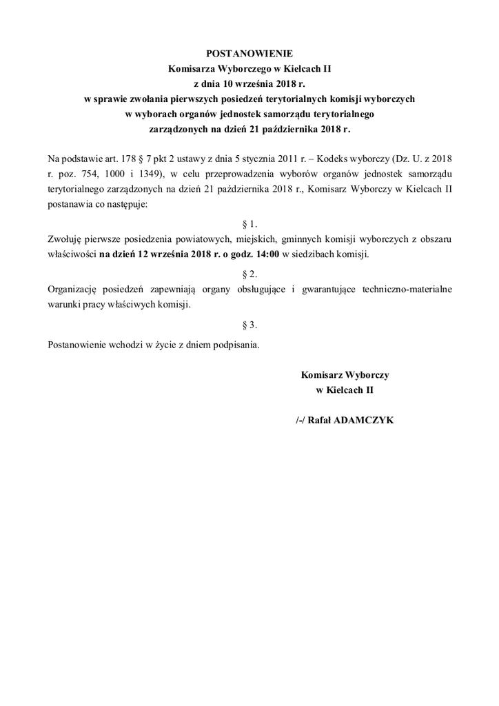 Postanowienie KW II w sprawie zwołania pierwszych posiedzień TKW.jpeg